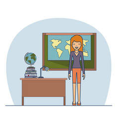 woman teacher in clothes on classroom with desk vector image vector image