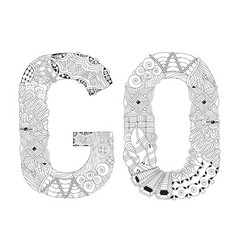 Word go for coloring decorative zentangle vector
