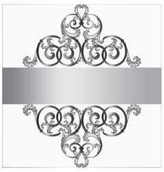 Invitation card with classic silver royal ornament vector image