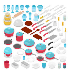 Isometric kithen utensils cutlery collection vector