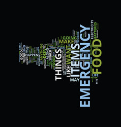 Emergency food text background word cloud concept vector