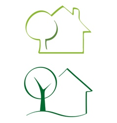 House and tree icons vector