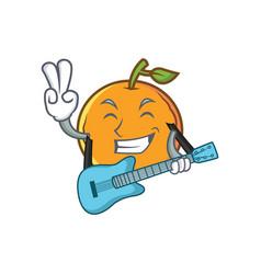 Orange fruit cartoon character with guitar vector