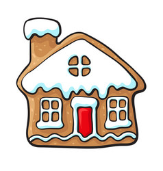 Glazed house-shaped christmas gingerbread cookie vector
