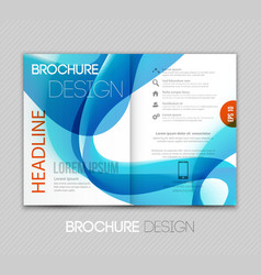 Abstract template brochure design with blue wave vector