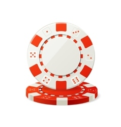 Gambling red and white poker chips vector