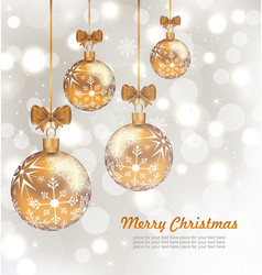 Glowing celebration card with set christmas balls vector