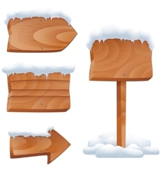 Wooden signs in snow set vector