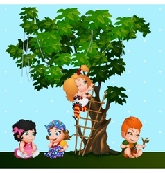 Company kids girls and a boy playing near the tree vector