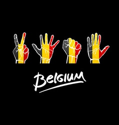 hands on Belgium flag background lettering vector image