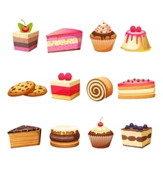 Cakes and sweets set vector