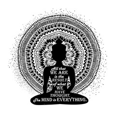 Isolated buddha silhouette and mandala design vector