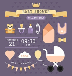 Baby shower invitation card template Its a baby vector image