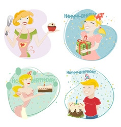 birthday and cake vector image vector image