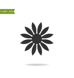 black flat silhouette object of flower for logo vector image vector image