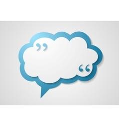Blue cloud speech bubble with commas quote vector