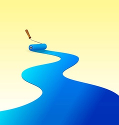 Blue Paint and Roller vector image vector image