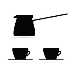 coffee pot and coffee cups black vector image