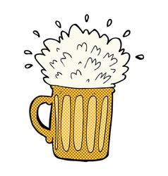 comic cartoon frothy beer vector image vector image