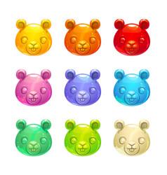 Cute jelly beaver faces vector
