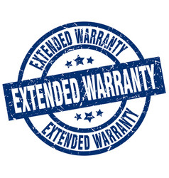 Extended warranty blue round grunge stamp vector
