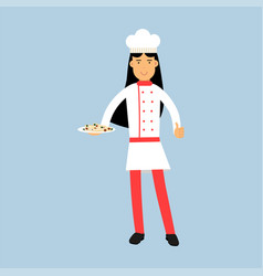 female chef cook character in uniform holding vector image vector image