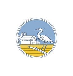 Great blue heron farm barn circle retro vector