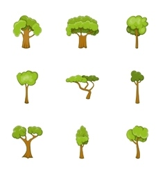 Green tree icons set cartoon style vector image vector image