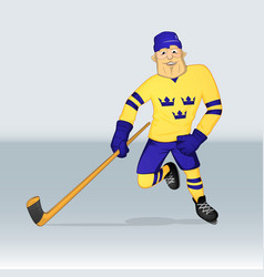 ice hockey team sweden player vector image vector image