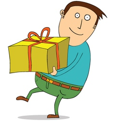 Man holding present vector image vector image