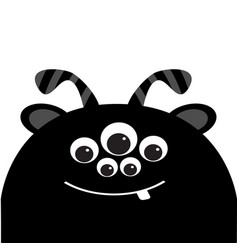 monster head silhouette with ears tooth and horns vector image vector image