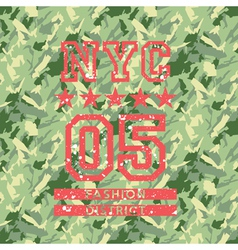 NYC fashion army style vector image vector image