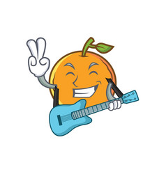 Orange fruit cartoon character with guitar vector