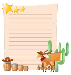 Paper template with horse in western town vector