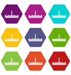 Parliament building of canada icon set color vector