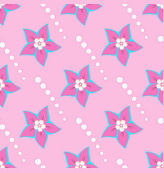 pink flowers and white shapes circles on a pink vector image