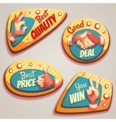 set of colored brightly badges with hand vector image