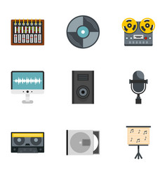 Sound producing icon set flat style vector