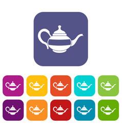 Teapot icons set flat vector