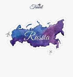 Travel around the world russia watercolor map vector