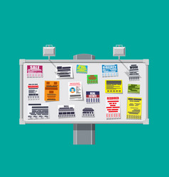 various tear off papers ad on bulletin board vector image vector image