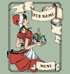 Vintage menu cover for pub or cafe retro waitress vector