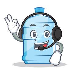 With headphone gallon character cartoon style vector
