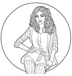 woman in a circle - coloring antistress vector image vector image