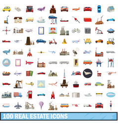100 real estate icons set cartoon style vector image