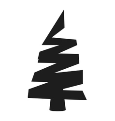 Christmas tree silhouette icon vector