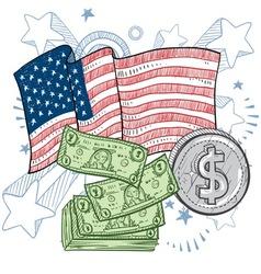doodle americana money vector image