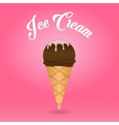 icec ream cone on pink background vector image