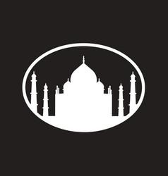 stylish black and white icon indian taj mahal vector image