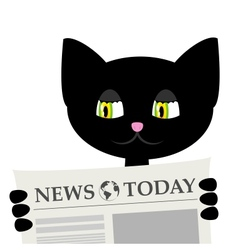 Black cat is reading a newspaper vector